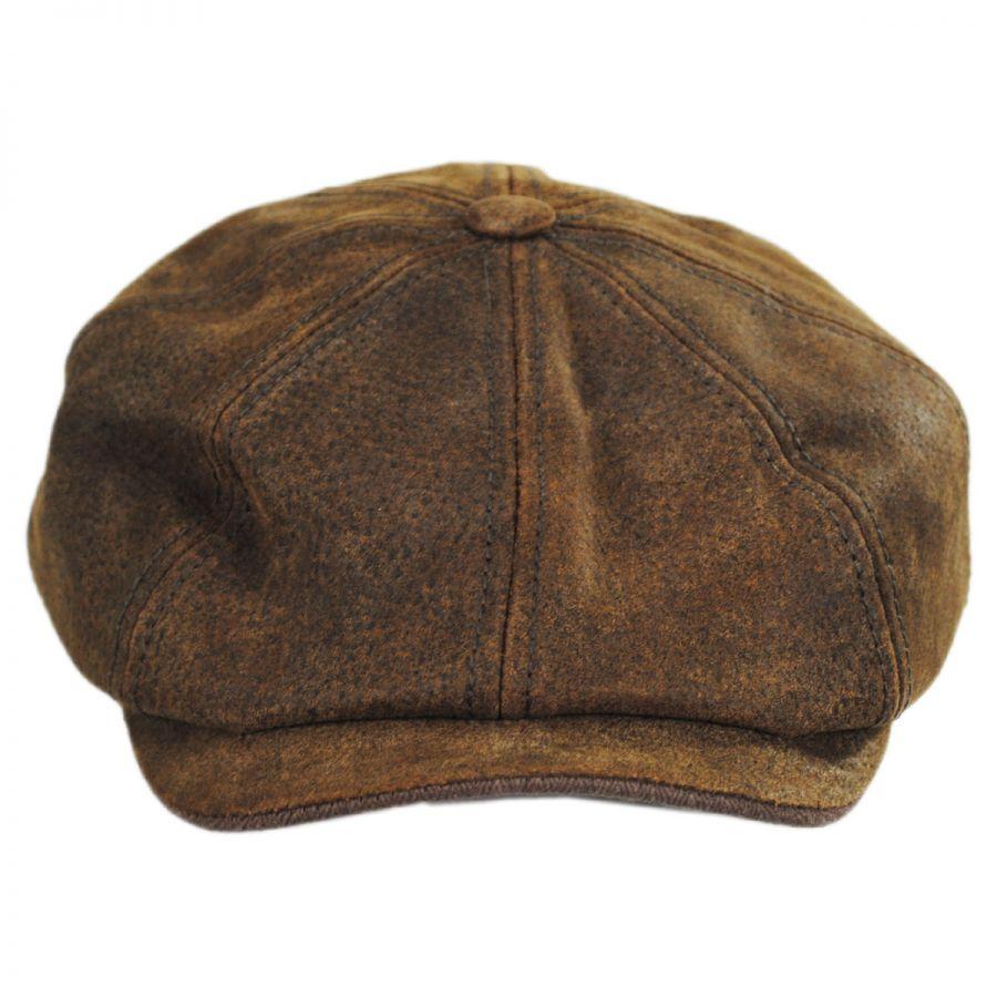 Stetson Pigskin Leather Newsboy Cap Newsboy Caps d534b820ee1