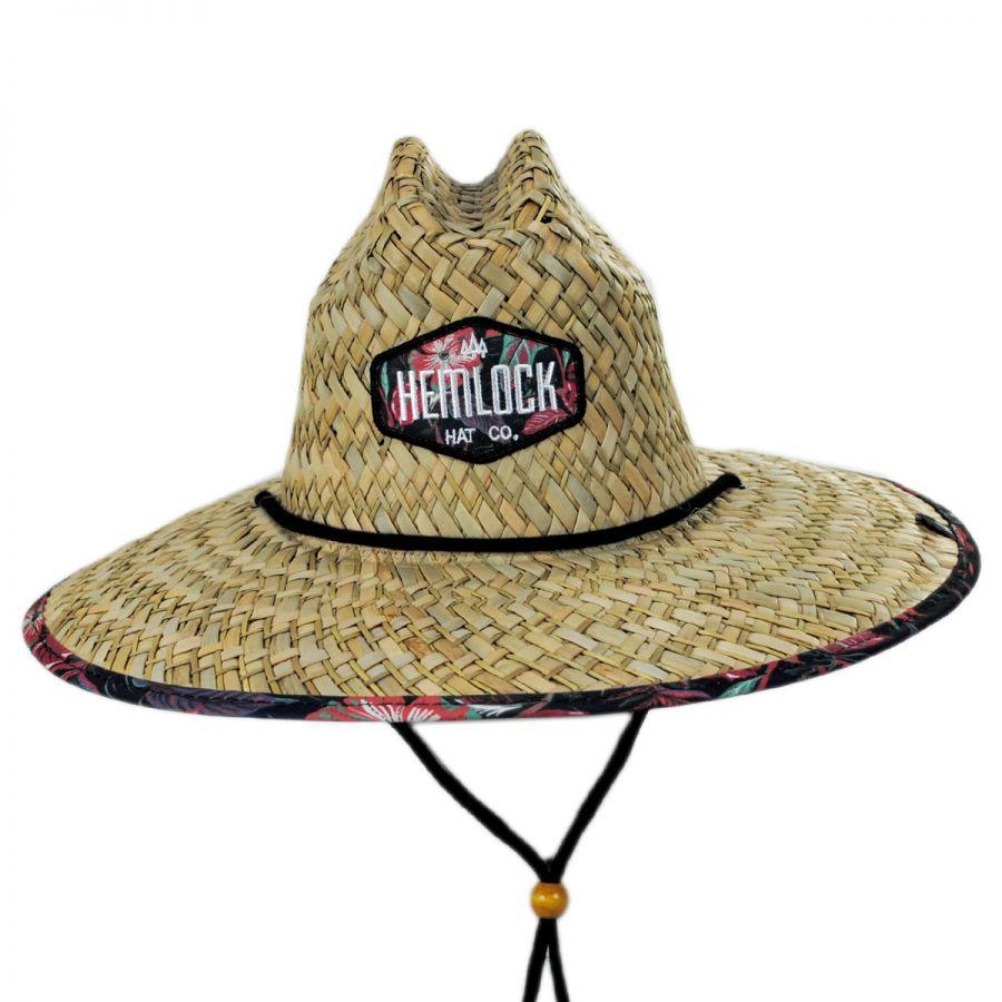 0deafb6260fe0 Hemlock Hat Co Floral Straw Lifeguard Hat Straw Hats