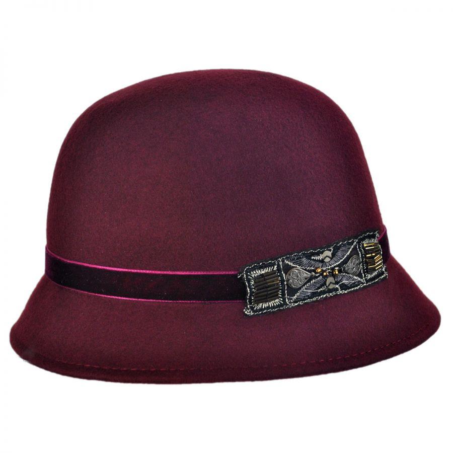 Scala Bead Decor Wool Felt Cloche Hat Cloche & Flapper Hats