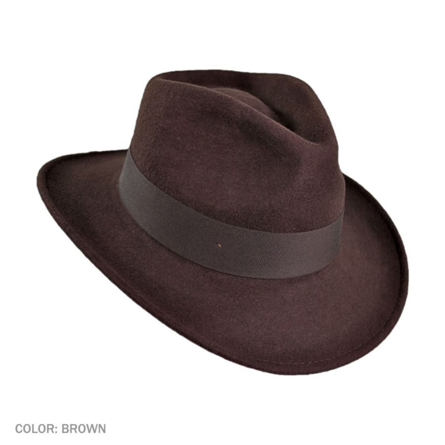 Jaxon Hats Ford Crushable Wool Felt Fedora Hat All Fedoras
