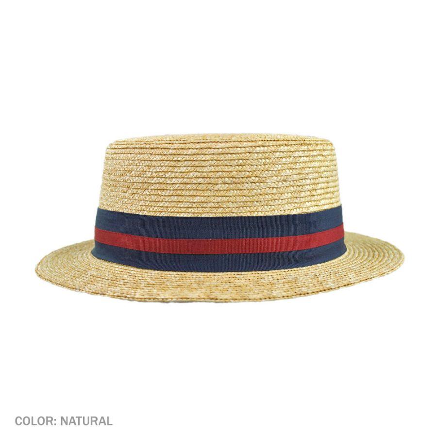 e503d8b52dc Jaxon Hats Striped Band Wheat Straw Skimmer Hat Straw Hats