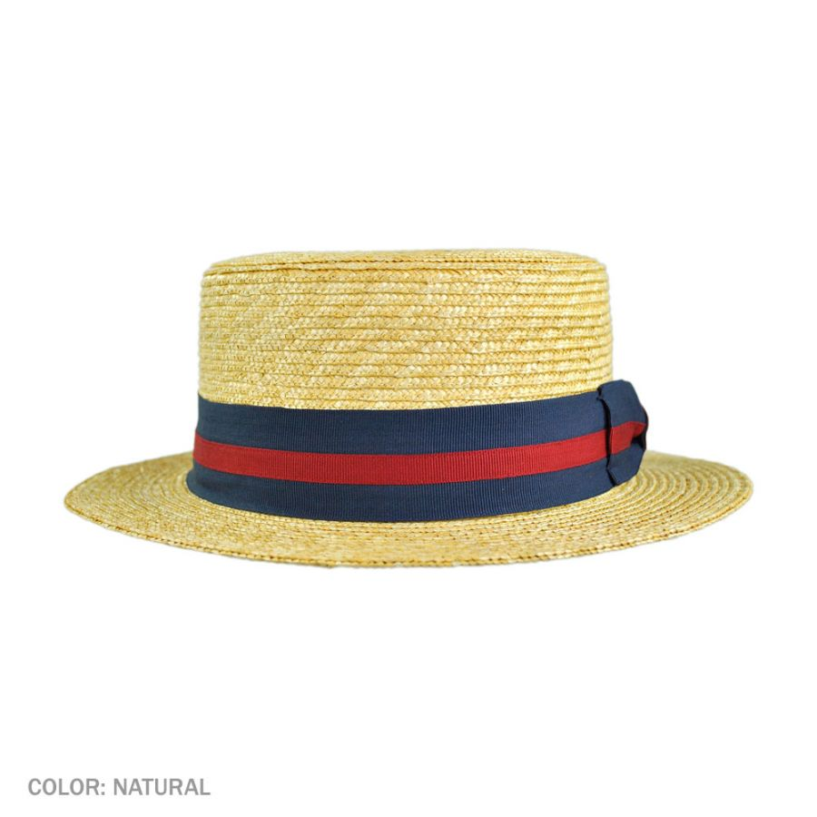 91bec642438 Jaxon Hats Striped Band Wheat Straw Skimmer Hat Straw Hats