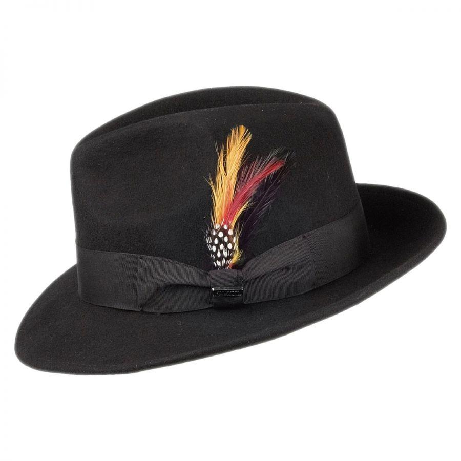 87cc6374562 Jaxon Hats Pinch Crown Crushable Wool Felt Fedora Hat All Fedoras