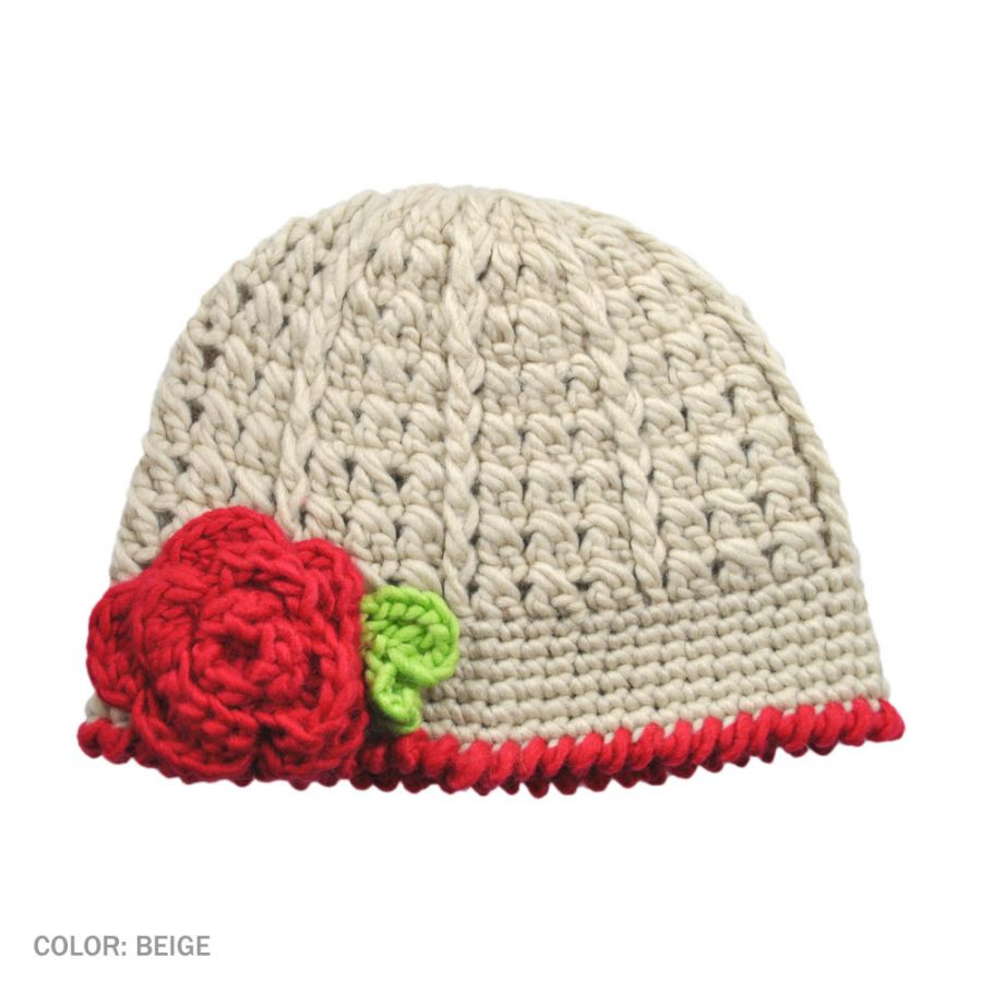 Knitting Pattern For Beanie With Flower : Jeanne Simmons Toddlers Flower Knit Beanie Hat Baby and ...