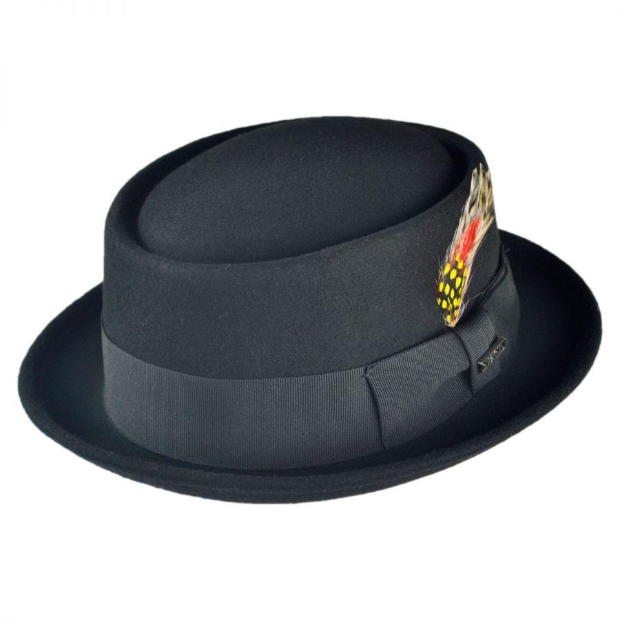 B2B Jaxon Wool Pork Pie Hat (Black) Pork Pie Hats af71309843f
