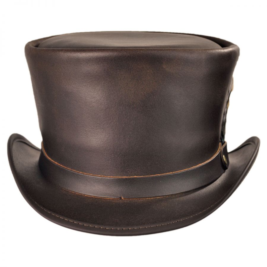 Head  N Home Coachman Brown Leather Top Hat Top Hats 065fc02d8f3f