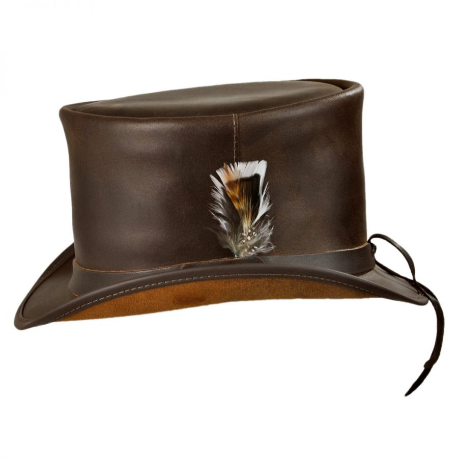 1f9cb4ea92f Head  N Home Coachman Brown Leather Top Hat Top Hats