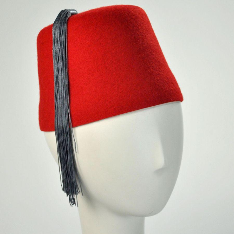 Village Hat Shop Red Fez With Grey Tassel Fez