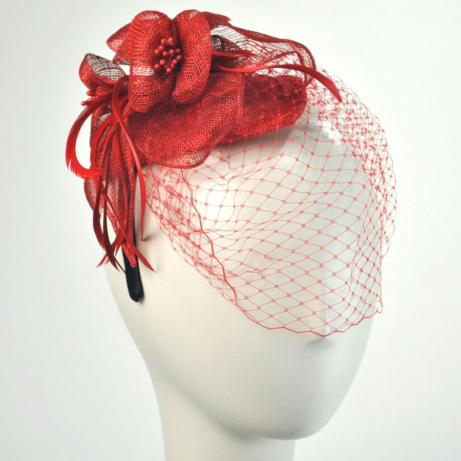 Jeanne Simmons Flower And Veil Straw Fascinator Headband