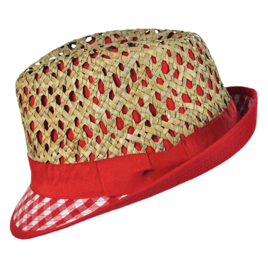 c988cd9f7 Jeanne Simmons Kid's Picnic Cotton and Straw Fedora Hat Girls