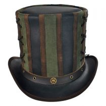 Absinthe Leather Stove Piper Top Hat