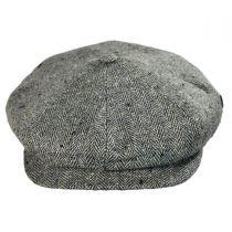 Herringbone Silk Newsboy Cap - Black/Tan