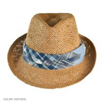 Plaid Hatband Straw Fedora Hat - Kids