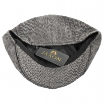 Herringbone Wool Blend Newsboy Cap in