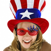Uncle Sam Plush Top Hat - Adult Size RED/WHITE/BLUE