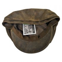 Distressed Leather Newsboy Cap in