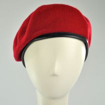 Wool Military Beret with Lambskin Band alternate view 136