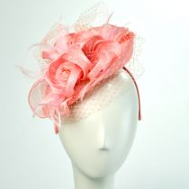 Three Flower Straw Fascinator Headband in