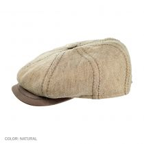 Linen and Leather Newsboy Cap