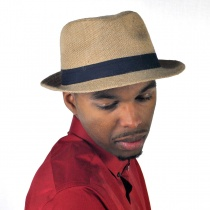 Jute Fabric C-Crown Trilby Fedora Hat alternate view 5