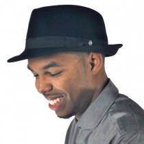 Detroit Wool Felt Trilby Fedora Hat - Black alternate view 15