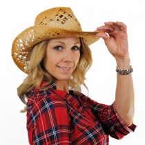 Annie Oakley Raffia Straw Western Hat alternate view 2