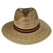Striped Band Explorer Palm Straw Fedora Hat alternate view 2