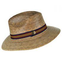 Striped Band Explorer Palm Straw Fedora Hat alternate view 3