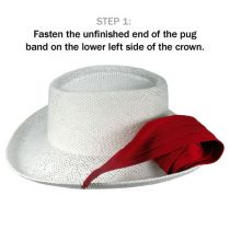 Cotton Twill 3-Pleat Pug Hat Band - White alternate view 2