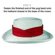 Cotton Twill 3-Pleat Pug Hat Band - White alternate view 4