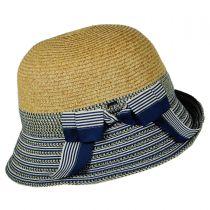 Striped Brim Toyo Straw Cloche Hat