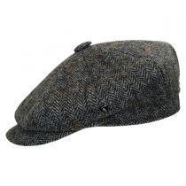 Herringbone Harris Tweed Wool Newsboy Cap in