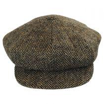 Herringbone Donegal Tweed Wool Baker Boy Cap in