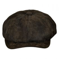 Rustic Leather Newsboy Cap in