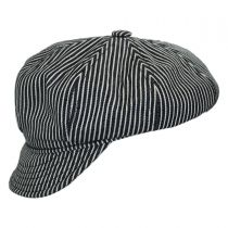 Engineer Striped Cotton Newsboy Cap in