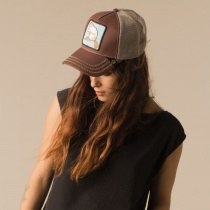 Beaver Mesh Trucker Snapback Baseball Cap in Brown
