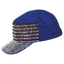 USA Flag Studded Cotton Cadet Cap in
