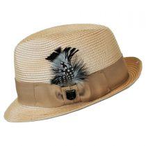 Polybraid Straw Pinch Crown Fedora Hat in