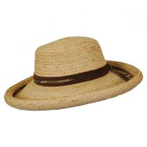 Beaded Suede Band Raffia Straw Roller Hat in