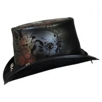 Skull N Roses Leather Top Hat in