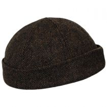 Six Panel Herringbone Wool Skull Cap Beanie Hat in