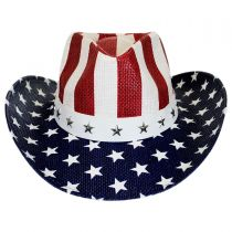 USA Flag Toyo Straw Western Hat alternate view 2