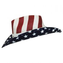 USA Flag Toyo Straw Western Hat in