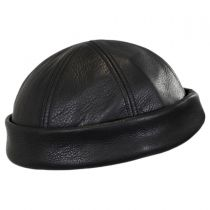 Six Panel Leather Skull Cap Beanie Hat in