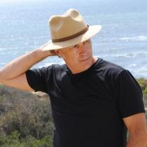 Ramie Hemp Straw Blend Safari Fedora Hat in