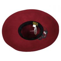 Embroidered Flower Wool Felt Floppy Downbrim Hat in
