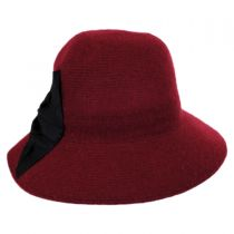 Pleated Bow Knit Wool Roller Hat in