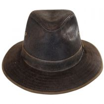 Weathered Leather Safari Fedora Hat in