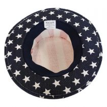 USA Flag Toyo Straw Boater Hat - Stripe Crown in