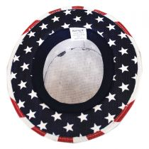 USA Flag Toyo Straw Boater Hat - Star Crown in